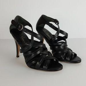 Cole Haan Blk Strappy High Heels Open Toe